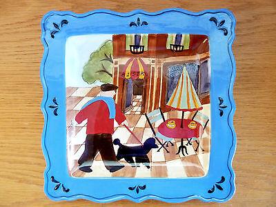 CI Parisian Sidewalk Cafe Bistro Plate Blue Jennifer Brinley Frenchman & Poodle