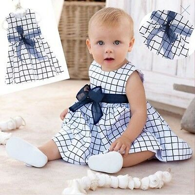 Baby Toddlers Girls Top Bow-knot Plaids Dress Outfit Clothes Kids Cotton 0-3Y
