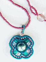 Beaded Pendant Necklace Pink & Teal 16 Inch Women And Girls Jewelry $22 Nwb
