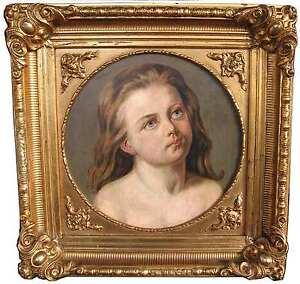 Deutscher-Romantiker-Portrait-MADCHEN-blond-BIEDERMEIER-ein-ENGEL-Melancholie