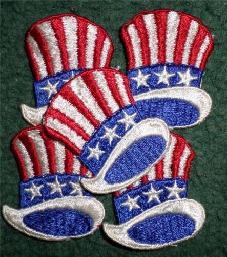 "Lot 25 Vtg Patriotic Red White Blue Uncle Sam Hat Patches 1 3//4 X 1 1//2/""  HL"