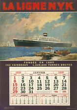 """""""Paquebot NITTA MARU"""" Carton-calendrier original 1939 Frank H MASON 29x41cm"""