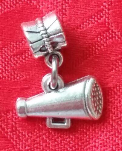MEGAPHONE NECKLACE SPORTS CHEERLEADER CHEER ANTIQUE SILVER CHARM