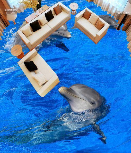 3D Calm Blau Dolphin 609 Floor WallPaper Murals Wall Print Decal 5D AJ WALLPAPER