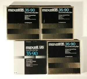 """LOT OF FOUR USED (4) MAXELL UD 35-90 7"""" REEL TO REEL TAPES"""