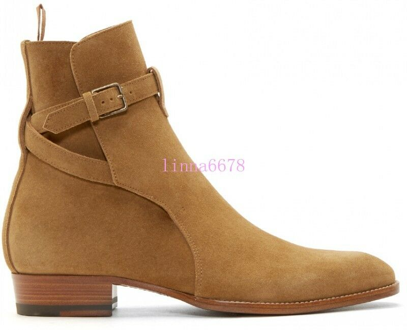 Fashion Uomo Buckle On Ankle Boots Vintage Pull On Buckle Suede Western Cowboy Chukka 6-11 627b71