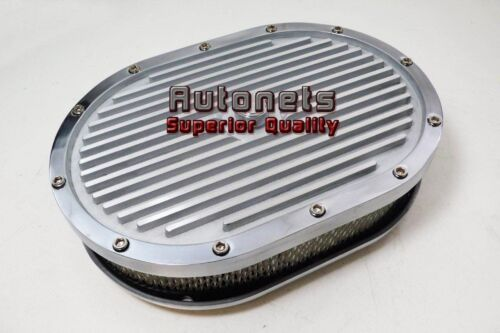 "12/"" Oval Elite Aluminum Air Cleaner Finned Polish SBC BBC Eliminator Chevy Ford"