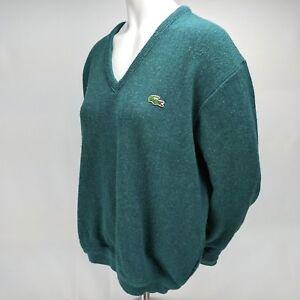 Vintage-Izod-Lacoste-V-Neck-Womens-Knit-Sweater-Green-Long-Sleeve-Size-Medium-M