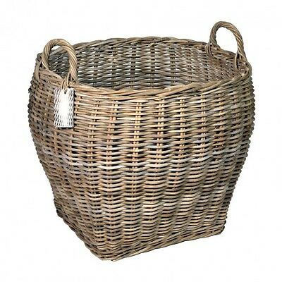 Grey Rattan Oval Log Baskets Two Sizes Storage Home Hampers Laundry Logs Toys