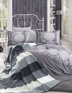 Bettwäsche 200x220 Cm Bettgarnitur Bettbezug Baumwolle Kissen 4 Tlg