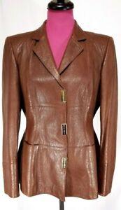 Escada-Embossed-Womens-Jacket-Carmel-Brown-Nappa-Leather-Sz-38-USA-Size-8