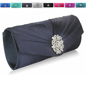 Plain-Satin-Baguette-Diamante-Wedding-Women-Clutch-Bridesmaid-Ladies-Evening-Bag
