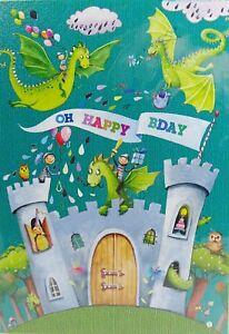mila marquisglückwunschkarte geburtstag kinder drache burg ritter grußkarte   ebay