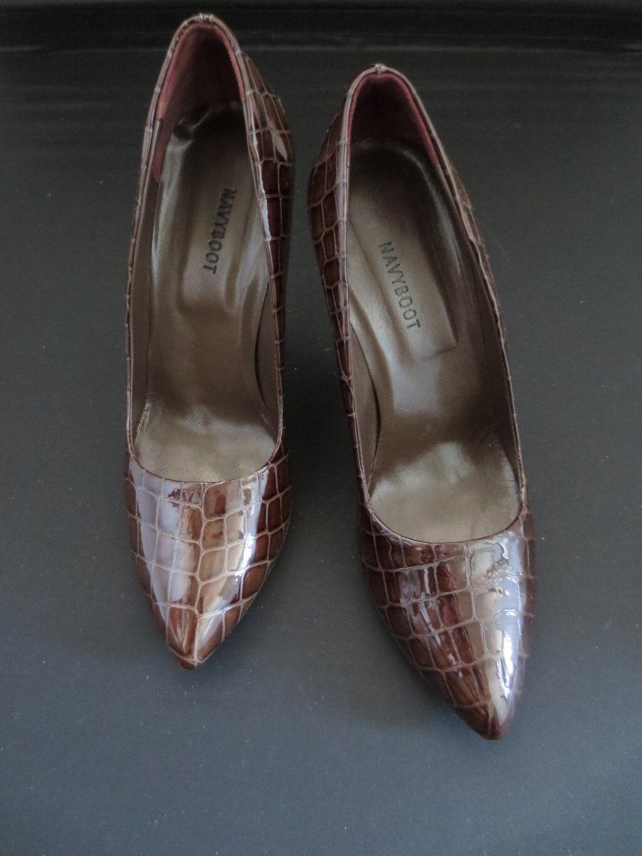 NavyStiefel High Heels Damen Schuhe Leder Lack dunkelbraun  Gr. EU 39
