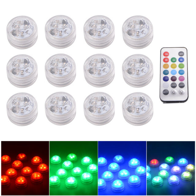 online store 4328e 614f9 Remote Control SMD3528 RGB Submersible LED Lights CR2032 Battery Operated  LD843