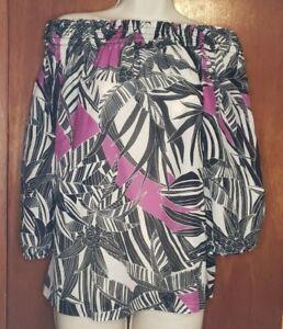 Women's Trina Turk Long Sleeve Silk Blouse On Off Shoulder  Black Purple Small