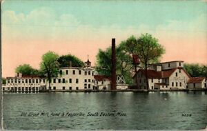 1910-S-EASTON-MASS-OLD-GRIST-MILL-POND-AND-FACTORIES-POSTCARD-KK1