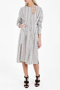 8313bb5560d NWT ISABEL MARANT $710 Selby Striped Cotton Midi Shirt Dress Ecru ...