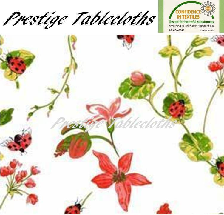 Ladybirds Flowers PVC Vinyl Wipe Clean Tablecloth - ALL SIZES - Code  F752-1