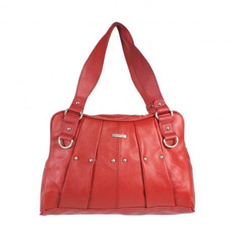 LADIES STYLISH REAL LEATHER VINTAGE HANDBAG WOMENS TOTE SHOULDER BAG BLACK RED