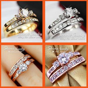 18K-GOLD-FILLED-TRILOGY-SIMULATED-DIAMOND-WEDDING-ETERNITY-LADIES-GIFT-RINGS-SET