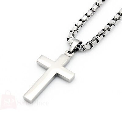 """20-24"""" Mens Silver Stainless Steel 3.5mm Box Link Chain Necklace Cross Pendant"""