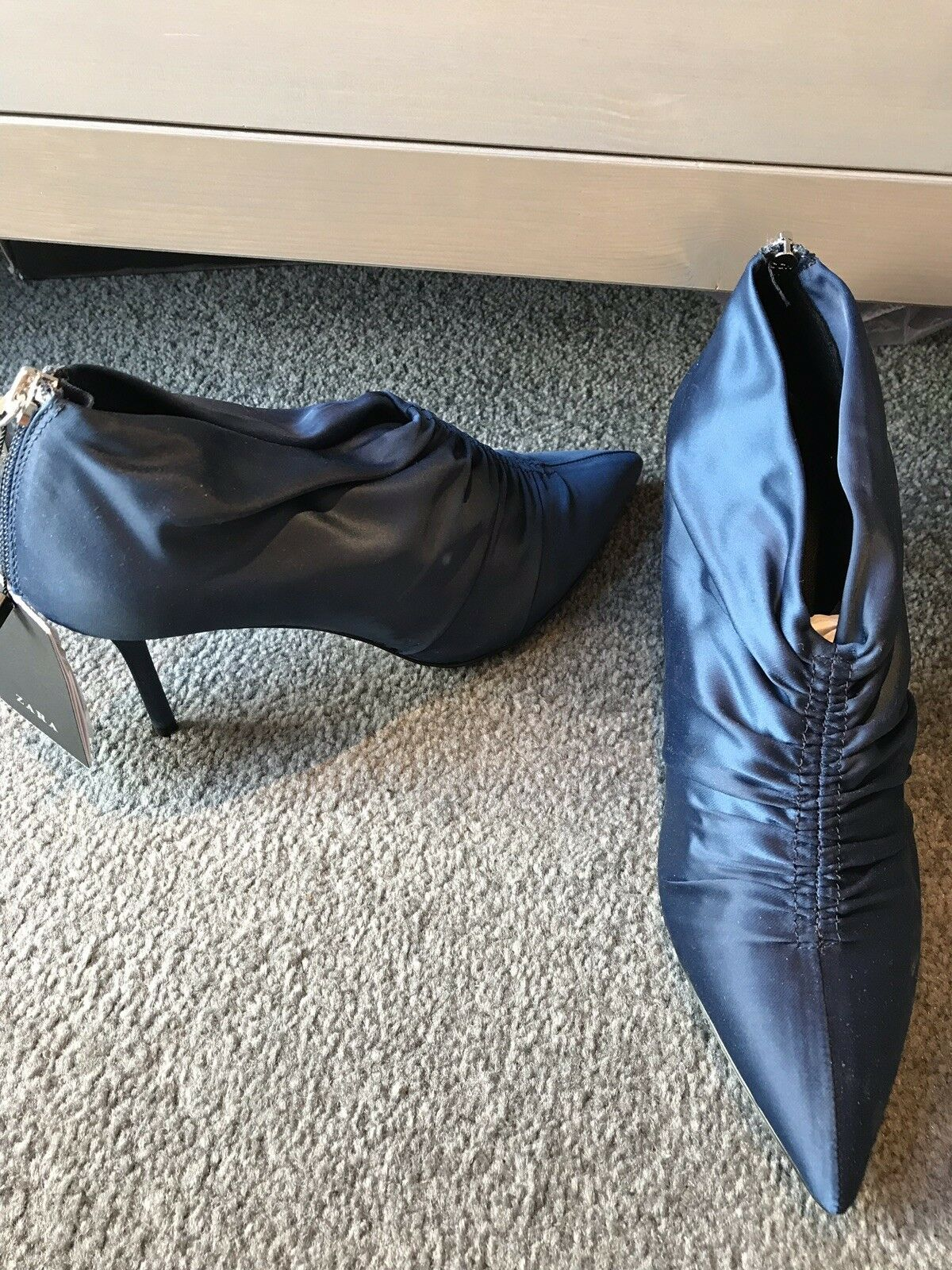 Zara bluee Silky Pointed Booties Ankle Boots Uk 4