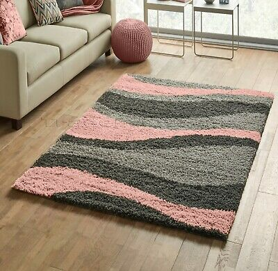 Small X Large Thick Grey Silver Soft Baby Blush Pink Waves Modern Shaggy Rug Ebay