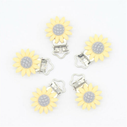 Sunflower Pacifier Clip Silicone Bead Baby Teether Teething Accessory Clip 2PCZJ