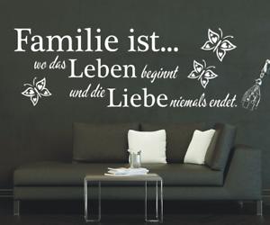 X4564-Wandtattoo-Spruch-Familie-ist-wo-das-Leben-Liebe-Sticker-Wandaufkleber