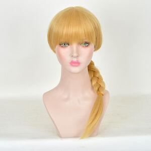 Detachable-Women-School-show-Blunt-Bangs-Pigtail-Braid-LONG-Blonde-Hair-Wigs-WIG