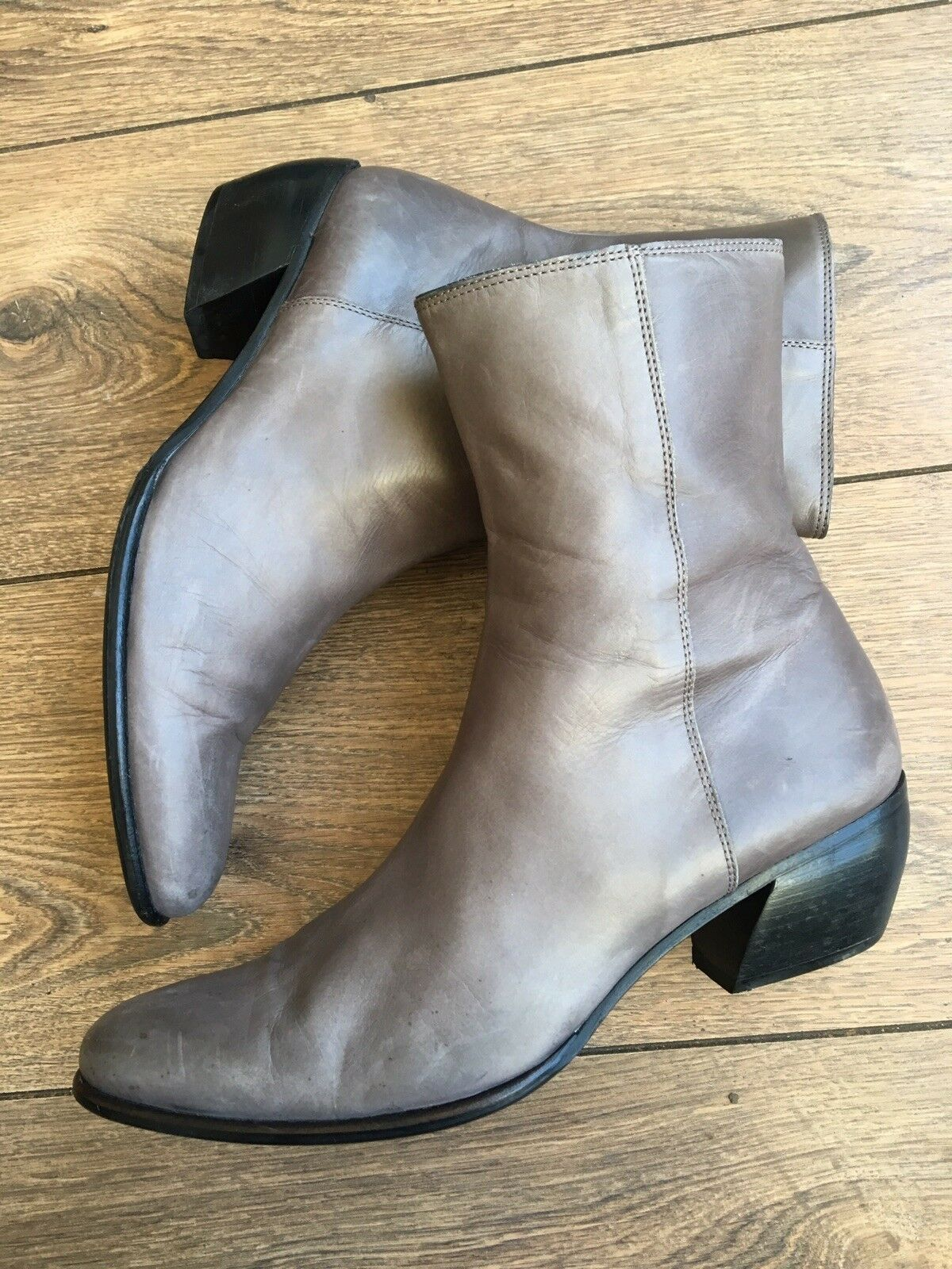 C Doux Designer Italian Grey Leather Chelsea Ankle Boots 5.5 38.5