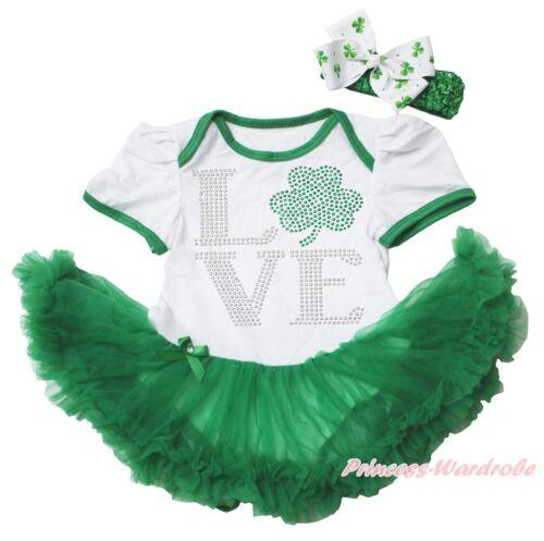 Rhinestone Love Clover St Patrick/'s Day White Bodysuit Green Baby Dress NB-18M
