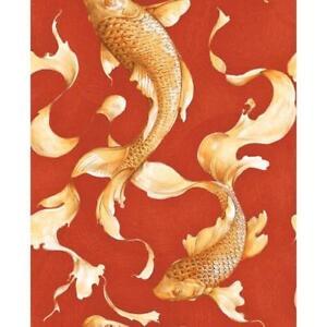 Wallpaper-Designer-Golden-Orange-Koi-Fish-on-Red-Faux