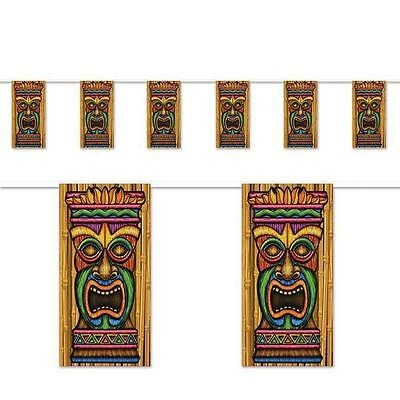 TIKI Pennant Bunting Flags/Luau Party Decorations/Hawaiian theme party supplies