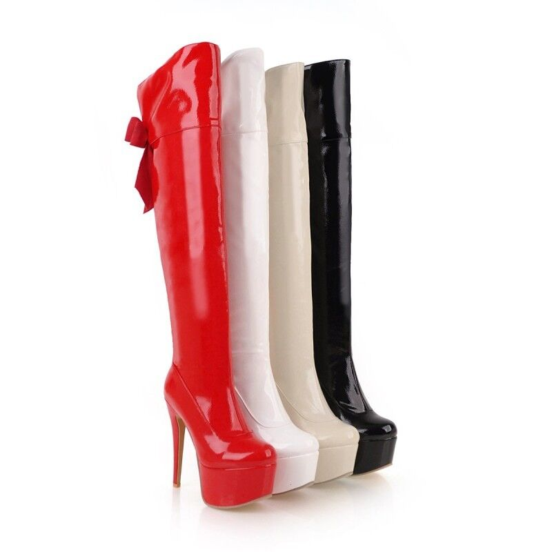 Donna Trendy Sexy Round Toe Platform Pumps High Heel Party Knee High Stivali Y290