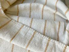 Distressed Antique Grainsack Very Rare Caramel Stripe Pattern Worn Patched Linen
