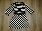 Womens NEW LOOK striped tunic/ belted top/ trendy party blouse size 8 EU 36