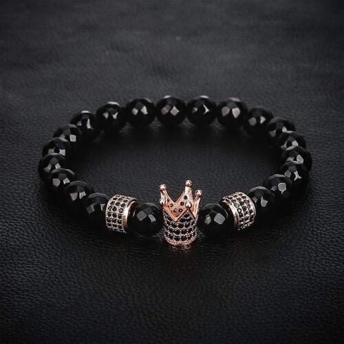 Qualité couronne bracelets hommes femmes Noir Onyx Pierre Perles Bracelet Bijoux