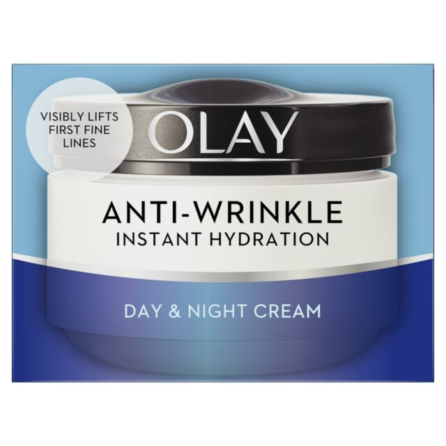Olay Anti-Wrinkle Instant Hydration Moisturiser Day Cream Reduces Puffiness 50ml