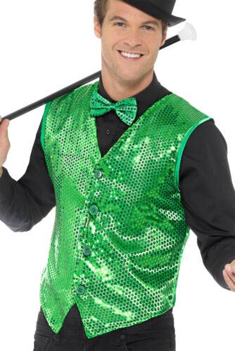Sequin Waistcoat Green Mens Adult 1920s Cabaret Fancy Dress Outfit