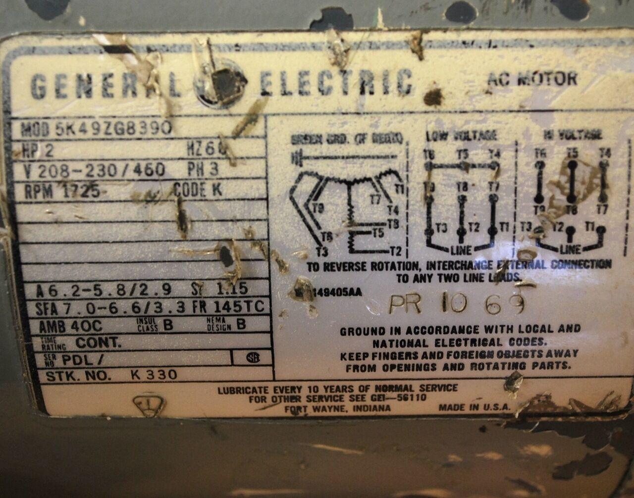 GE Motors K330 2 HP 1725 RPM 208-230/480v 60hz 3ph AC Electric Motor
