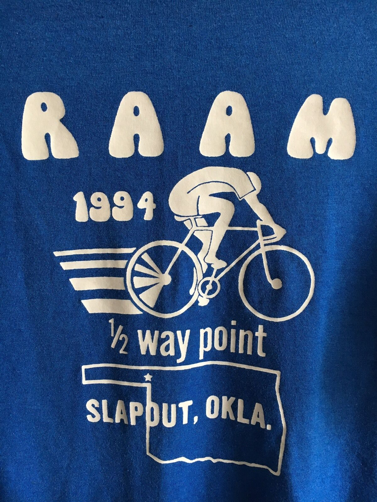 VTG RAAM 1994 Race Across America Bicycle/Bike Blau Slapout OK 1/2 Way T Shirt M