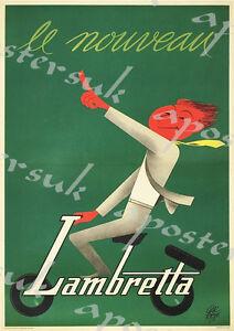 VINTAGE LAMBRETTA ADVERTISING A4 POSTER PRINT