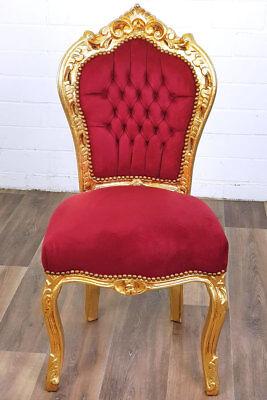 Gold Rot Stuhl Sitzmöbel Esszimmer Barock Dining Chair RjA4L5