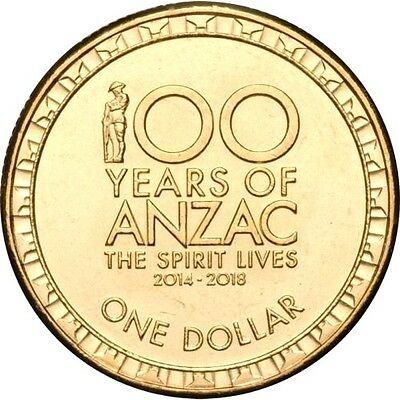 2017 AUSTRALIAN $1 COIN 100 YEARS OF ANZAC THE SPIRIT LIVES ON
