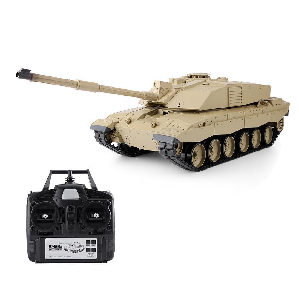 Tanque RC Heng Long 1 16 3908-1 2.4Ghz modelo de sonido de batalla de simulación Challenger 2