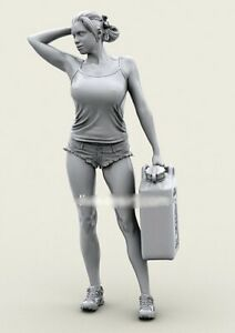 1-35-Resin-Girl-Rider-W-Canister-Unpainted-Unassembled-BL826