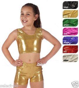kids girl metallic hot wet look shiny sexy crop top or