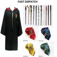 2016 HARRY POTTER COSPLAY Wand HOGWARTS TIE Gryffindor Cloak Robe CAPE Costume